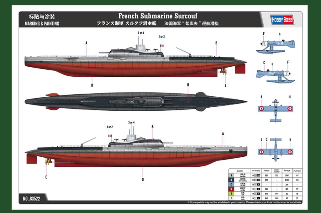 maquette sous marin surcouf