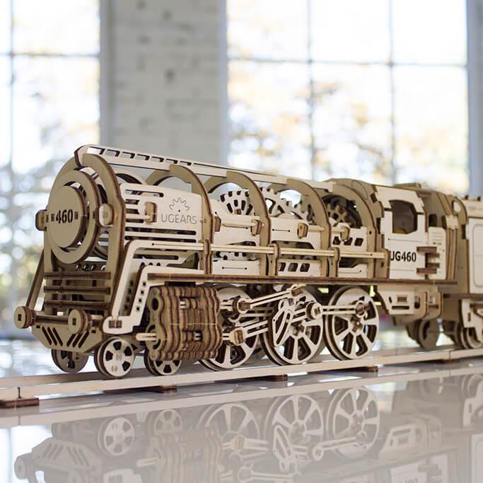 achat puzzle 3d en bois locomotive m canique ugears 70012 net loisirs. Black Bedroom Furniture Sets. Home Design Ideas